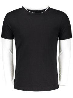 Long Sleeve Two Tone T Shirt - Black Xl
