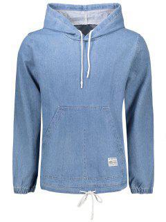 Denim Kangaroo Pocket Hoodie - Light Blue Xl