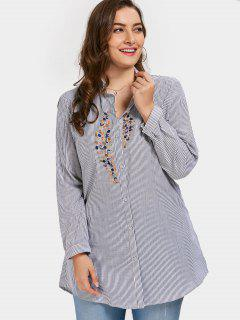 Plus Size Embroidered Striped Shirt - Stripe 3xl