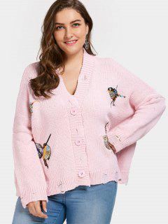 Chunky Distressed Embroidered Plus Size Cardigan - Pink