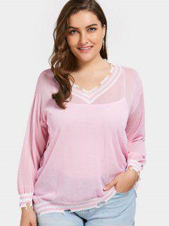 Distressed Plus Size Cricket Sweater - Pink