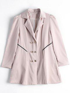 Skirted Double-breasted Trench Coat - Pinkbeige 2xl