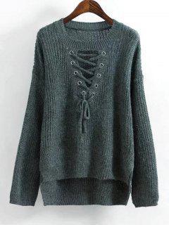 Hoch Niedrige Schnürung Pullover - Dunkelgrün