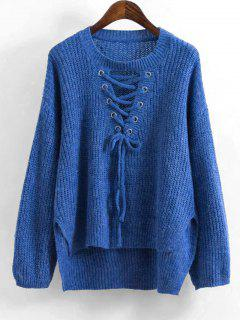 High Low Lace Up Sweater - Blue