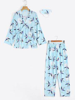Loungewear Swallow Print Wrap Top With Pants - Light Blue Xl