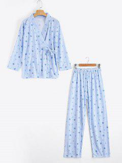 Plaid Strawberry Kimono With Pants Loungewear - Blue M