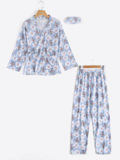 Loungewear Floral Wrap Top With Pants - Light Blue Xl