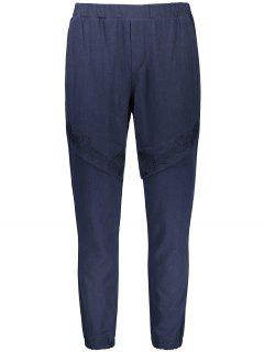 Elastic Waist Embroidered Jogger Pants - Cadetblue Xl
