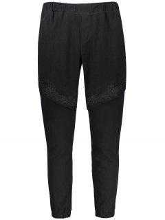 Casual Embroidered Elastic Waist Pants - Black 4xl