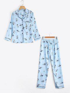 Loungewear Satin Floral Print Shirt With Pants - Light Blue M