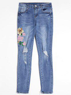Floral Embroidered Ripped Frayed Hem Jeans - Blue M