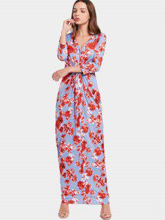 V Neck Floral Print Ruched Maxi Dress - Floral S
