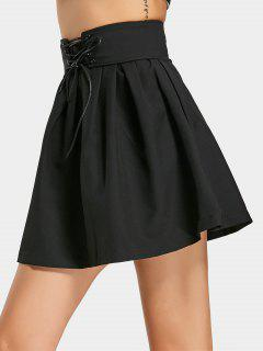 Ruffles Lace Up A Line Mini Skirt - Noir M