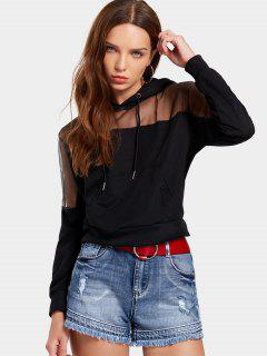 Mesh Panel Front Pocket Drawstring Hoodie - Black S