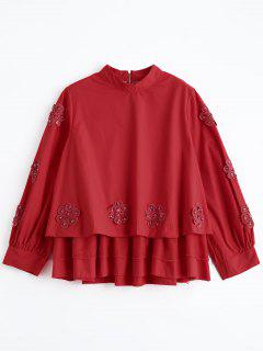 Beading Layered Floral Applique Blouse - Red