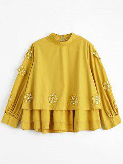 Beading Layered Floral Applique Blouse - Yellow