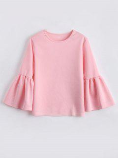 Flare Sleeve Boxy Top - Light Pink L