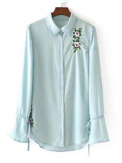 Bow Tie Floral Embroidered Shirt - Light Blue S