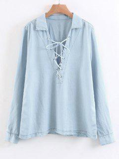 Loose Long Sleeve Lace Up Shirt - Light Blue L