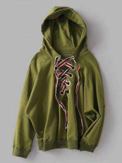 Oversized Lace Up Hoodie - Army Green S