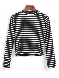 Long Sleeve Stripes Layering Top - Black