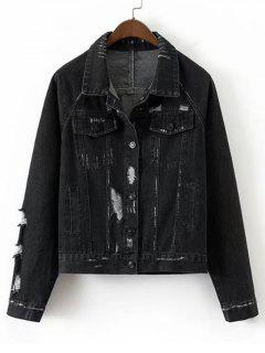 Loose Destroyed Button Up Denim Jacket - Black M