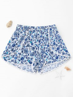 High Waisted Floral Lace Trim Shorts - Floral Xl