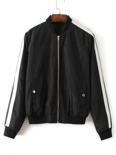 Ribbons Trim Zip Up Bomber Jacket - Black M