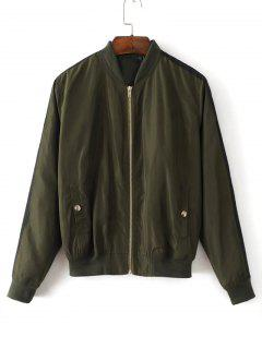 Ribbons Trim Zip Up Bomber Jacket - Army Green M