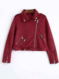 Asymmetric Zipper Belted Faux Suede Jacket - Red S