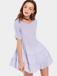 Round Collar Checked Mini Dress - Light Purple M