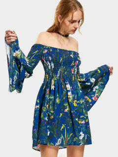 Smocked Floral Off Shoulder Tunic Dress - Floral L