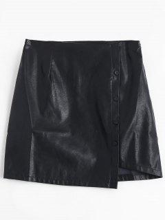 Button Detail PU Leather Skirt - Black M
