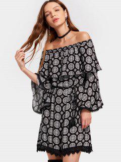 Off Shoulder Flare Sleeve Printed Belted Dress - Black Xl