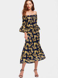 Robe Florale Manches Évasées Col Bardot - Floral L
