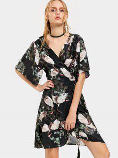 Robe De Plage Cache-Coeur Imprimé Grue Manches Kimono - Floral L