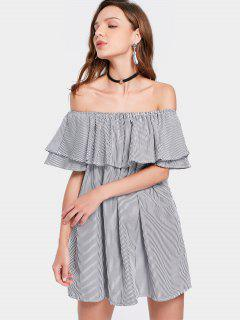 Off The Shoulder Flounce Striped Mini Dress - Black Xl