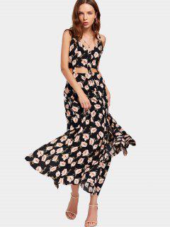 Floral Print Cut Out Slit Cami Dress - Floral L