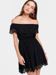 Off The Shoulder Hollow Out Scalloped Dress - Black L