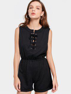 Lace Up Sleeveless Romper - Black L
