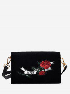 Embroidered Velvet Crossbody Bag - Black