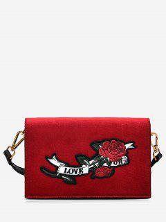 Embroidered Velvet Crossbody Bag - Red