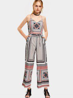 Belted Geometric Floral Wide Leg Jumpsuit - Floral L