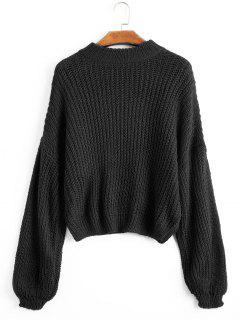 Lantern Sleeve Mock Neck Chunky Sweater - Black