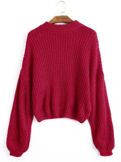 Lantern Sleeve Mock Neck Chunky Sweater - Red