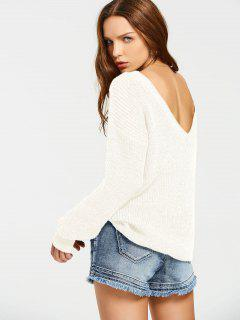 Back V Oversized Chunky Sweater - White
