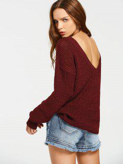 Back V Oversized Chunky Sweater - Wine Red