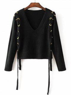 Loose V Neck Lace Up Sweater - Black S