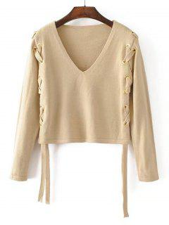 Loose V Neck Lace Up Sweater - Apricot S
