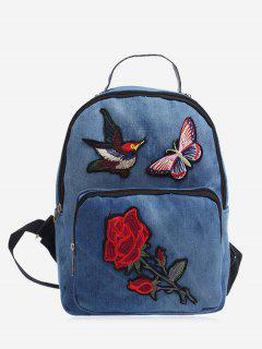 Zipper Embroidery Denim Backpack - Blue
